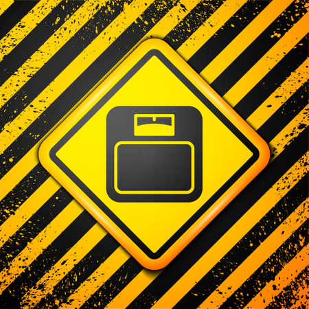 Black Bathroom scales icon isolated on yellow background. Weight measure Equipment. Weight Scale fitness sport concept. Warning sign. Vector