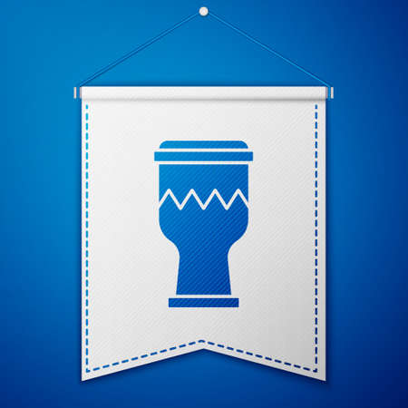 Blue Drum icon isolated on blue background. Music sign. Musical instrument symbol. White pennant template. Vector