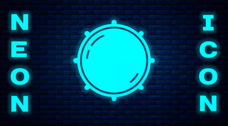 Glowing neon Dial knob level technology settings icon isolated on brick wall background. Volume button, sound control, analog regulator. Vector