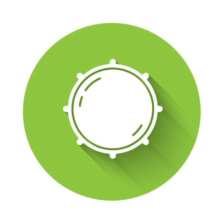White Dial knob level technology settings icon isolated with long shadow. Volume button, sound control, analog regulator. Green circle button. Vector