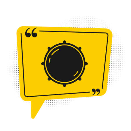 Black Dial knob level technology settings icon isolated on white background. Volume button, sound control, analog regulator. Yellow speech bubble symbol. Vector