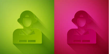 Paper cut Firefighter icon isolated on green and pink background. Paper art style. Vector 向量圖像