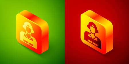 Isometric Firefighter icon isolated on green and red background. Square button. Vector