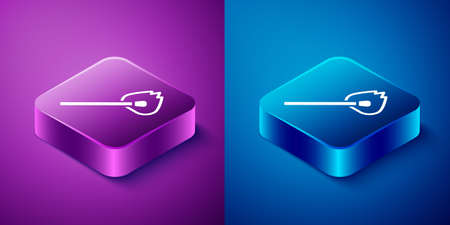 Isometric Burning match with fire icon isolated on blue and purple background. Match with fire. Matches sign. Square button. Vector