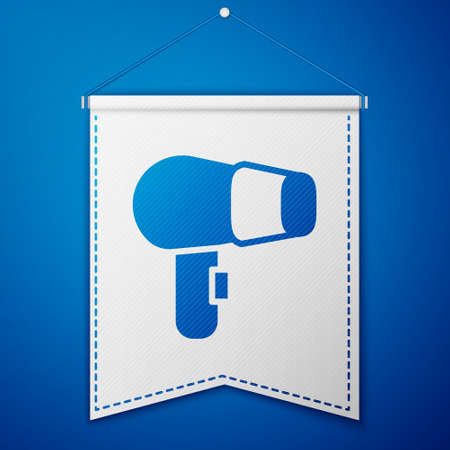Blue Hair dryer icon isolated on blue background. Hairdryer sign. Hair drying symbol. Blowing hot air. White pennant template. Vector