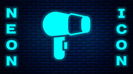 Glowing neon Hair dryer icon isolated on brick wall background. Hairdryer sign. Hair drying symbol. Blowing hot air. Vector