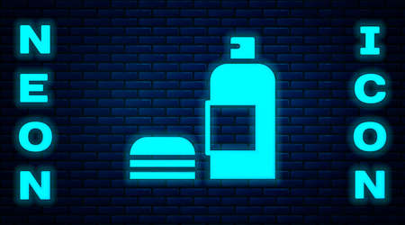Glowing neon Bottle of shampoo icon isolated on brick wall background. Vector  イラスト・ベクター素材