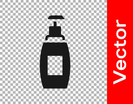 Black Bottle of liquid antibacterial soap with dispenser icon isolated on transparent background. Antiseptic. Disinfection, hygiene, skin care. Vector