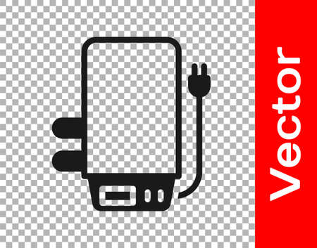 Black Electric boiler for heating water icon isolated on transparent background. Vector