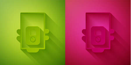 Paper cut Gas boiler with a burning fire icon isolated on green and pink background. Paper art style. Vector 矢量图像
