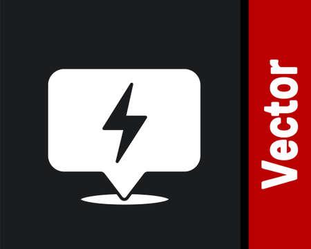 White Lightning bolt icon isolated on black background. Flash icon. Charge flash icon. Thunder bolt. Lighting strike. Vector 向量圖像