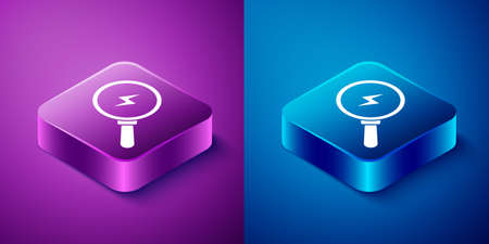 Isometric Magnifying glass with lightning bolt icon isolated on blue and purple background. Flash sign. Charge flash. Thunder bolt. Lighting strike. Square button. Vector
