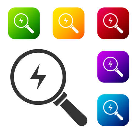 Black Magnifying glass with lightning bolt icon isolated on white background. Flash sign. Charge flash. Thunder bolt. Lighting strike. Set icons in color square buttons. Vector