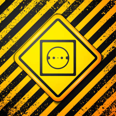 Black Electrical outlet icon isolated on yellow background. Power socket. Rosette symbol. Warning sign. Vector