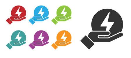 Black Lightning bolt icon isolated on white background. Flash sign. Charge flash icon. Thunder bolt. Lighting strike. Set icons colorful. Vector