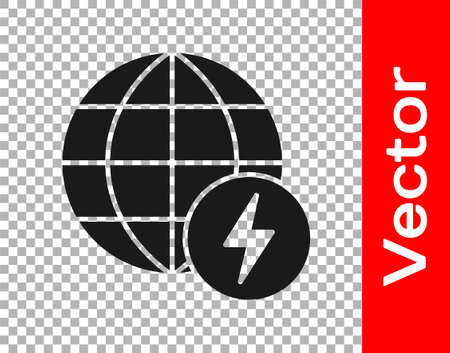 Black Global energy power planet with flash thunderbolt icon isolated on transparent background. Ecology concept and environmental. Vector