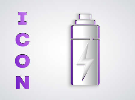 Paper cut Battery icon isolated on grey background. Lightning bolt symbol. Paper art style. Vector 向量圖像