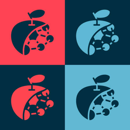Pop art Biological structure icon isolated on color background. Genetically modified organism and food. Vector