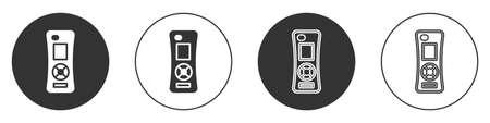 Black Remote control icon isolated on white background. Circle button. Vector Vettoriali