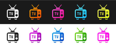 Set Retro tv icon isolated on black and white background. Television sign. Vector 向量圖像