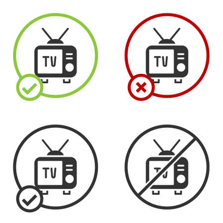 Black Retro tv icon isolated on white background. Television sign. Circle button. Vector 向量圖像