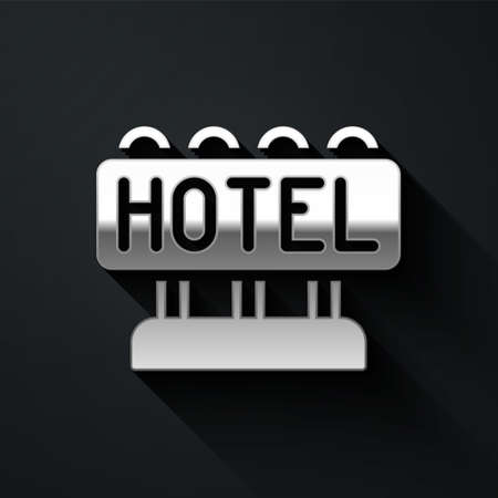 Silver Signboard outdoor advertising with text Hotel icon isolated on black background. Long shadow style. Vector