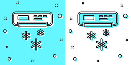 Black line Air conditioner icon isolated on green and white background. Split system air conditioning. Cool and cold climate control system. Random dynamic shapes. Vector