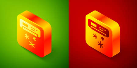 Isometric Air conditioner icon isolated on green and red background. Split system air conditioning. Cool and cold climate control system. Square button. Vector
