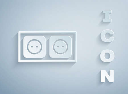 Paper cut Electrical outlet icon isolated on grey background. Power socket. Rosette symbol. Paper art style. Vector 矢量图像