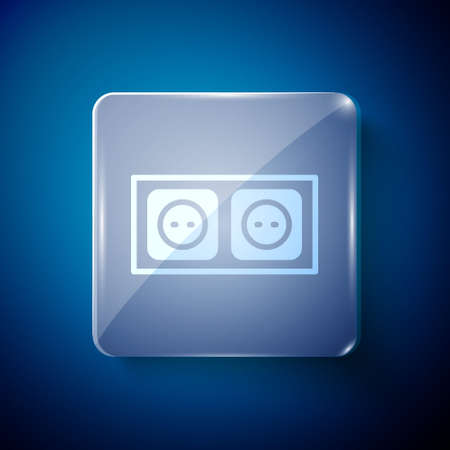 White Electrical outlet icon isolated on blue background. Power socket. Rosette symbol. Square glass panels. Vector 矢量图像