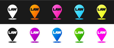 Set Location law icon isolated on black and white background. Vector Vektorové ilustrace