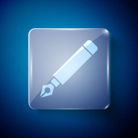 White Fountain pen nib icon isolated on blue background. Pen tool sign. Square glass panels. Vector