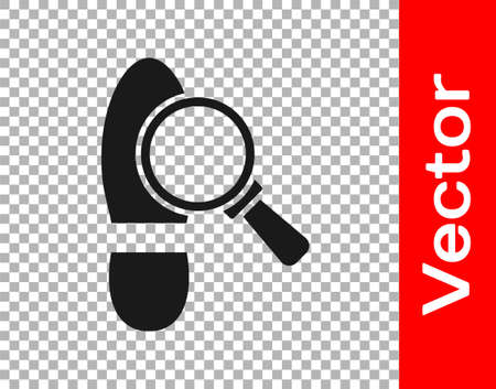 Black Magnifying glass with footsteps icon isolated on transparent background. Detective is investigating. To follow in the footsteps. Vector