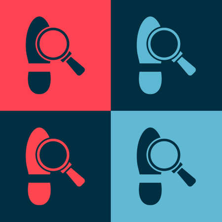 Pop art Magnifying glass with footsteps icon isolated on color background. Detective is investigating. To follow in the footsteps. Vector
