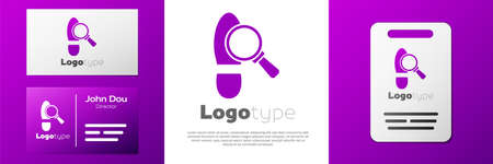 Logotype Magnifying glass with footsteps icon isolated on white background. Detective is investigating. To follow in the footsteps. Logo design template element. Vector
