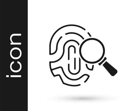 Black Magnifying glass with fingerprint icon isolated on white background. Identification sign. Vector 矢量图像
