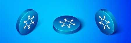 Isometric Hexagram sheriff icon isolated on blue background. Police badge icon. Blue circle button. Vector
