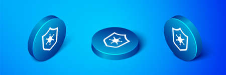 Isometric Police badge icon isolated on blue background. Sheriff badge sign. Blue circle button. Vector