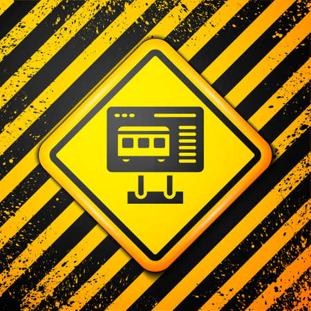 Black Ticket office to buy tickets for train or plane icon isolated on yellow background. Buying tickets. Ticket service. Warning sign. Vector
