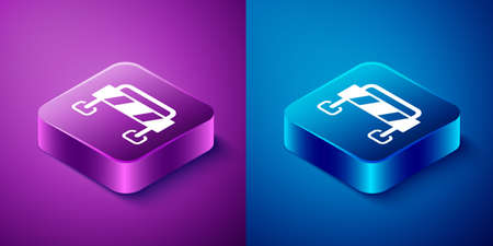 Isometric Road barrier icon isolated on blue and purple background. Symbol of restricted area which are in under construction processes. Repair works. Square button. Vector