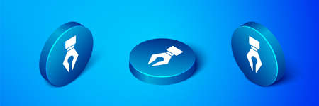 Isometric Fountain pen nib icon isolated on blue background. Pen tool sign. Blue circle button. Vector