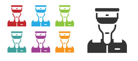 Black Train conductor icon isolated on white background. Set icons colorful. Vector Ilustração