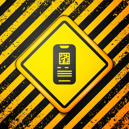 Black Online ticket booking and buying app interface icon isolated on yellow background. E-tickets ordering. Electronic train ticket on screen. Warning sign. Vector