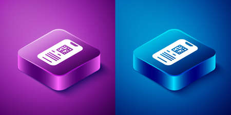 Isometric Online ticket booking and buying app interface icon isolated on blue and purple background. E-tickets ordering. Electronic train ticket on screen. Square button. Vector