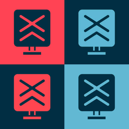 Pop art Railroad crossing icon isolated on color background. Railway sign. Vector Illustration
