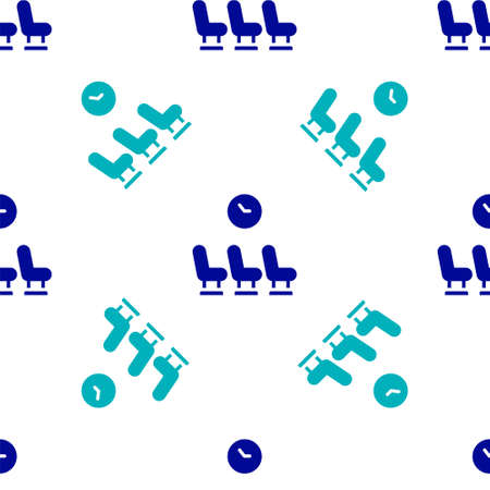 Blue Waiting room icon isolated seamless pattern on white background. Vector Vettoriali