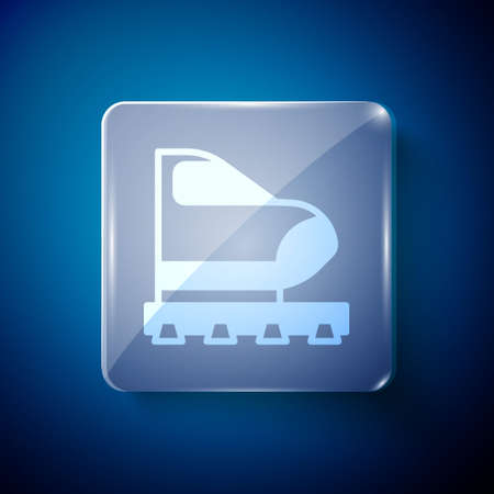 White High-speed train icon isolated on blue background. Railroad travel and railway tourism. Subway or metro streamlined fast train transport. Square glass panels. Vector 矢量图像