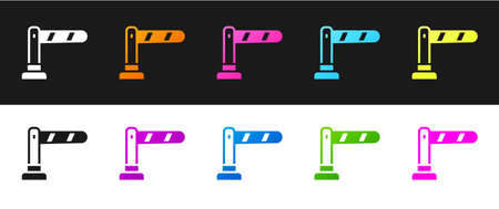Set Railway barrier icon isolated on black and white background. Vector