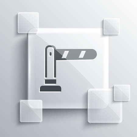 Grey Railway barrier icon isolated on grey background. Square glass panels. Vector