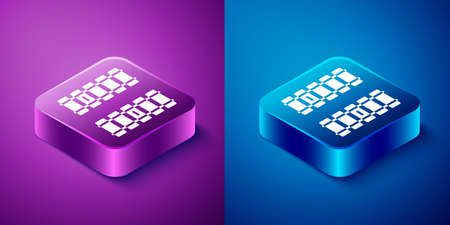 Isometric Railway, railroad track icon isolated on blue and purple background. Square button. Vector